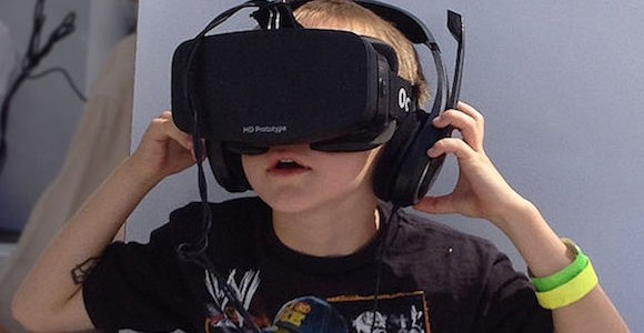 Boy wearing Oculus-Rift